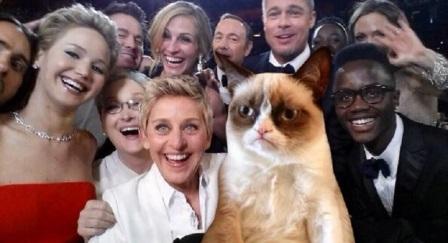 ellen kedi selfie oscar pozu 448x243 - Ellen DeGeneres'ın Twitter Rekoru