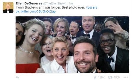 ellen oscar twitter mesaji 448x278 - Ellen DeGeneres'ın Twitter Rekoru